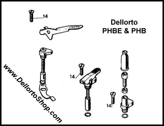 (14) Choke Assembly Support Screw for Dellorto PHB and PHBE carburetors